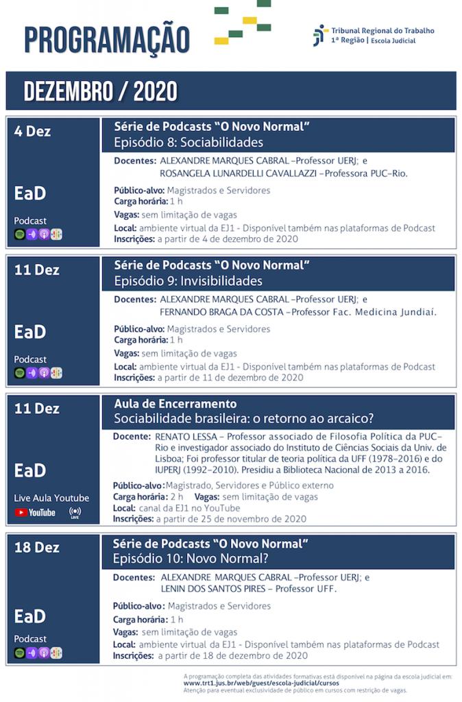 Folder dos cursos de dezembro